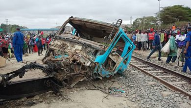Photo of Grisly tragic train lorry accident at Kware near Donlhom.