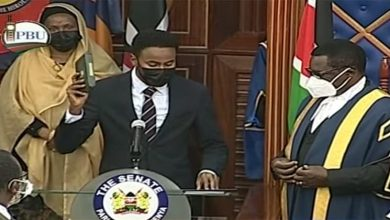 Photo of Brave Haji sworn in as Garissa senator after being elected unopposed.