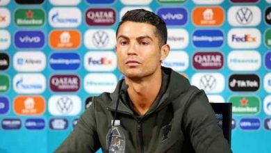 Photo of 'Water!' Cristiano Ronaldo angrily removes coke bottles at press conference